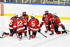 Baldwinsville Bees players before the third period against the West Genesee Wildcats in NYSPHSAA Section III Boys Ice hockey action at Shove Park in Camillus, New York on Tuesday, January 29, 2019. West Genesee won 5-1.
