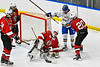 Baldwinsville Bees goalie Bradley O'Neill (30) holds the puck for a face-off against the West Genesee Wildcats in NYSPHSAA Section III Boys Ice hockey action at Shove Park in Camillus, New York on Tuesday, January 29, 2019. West Genesee won 5-1.