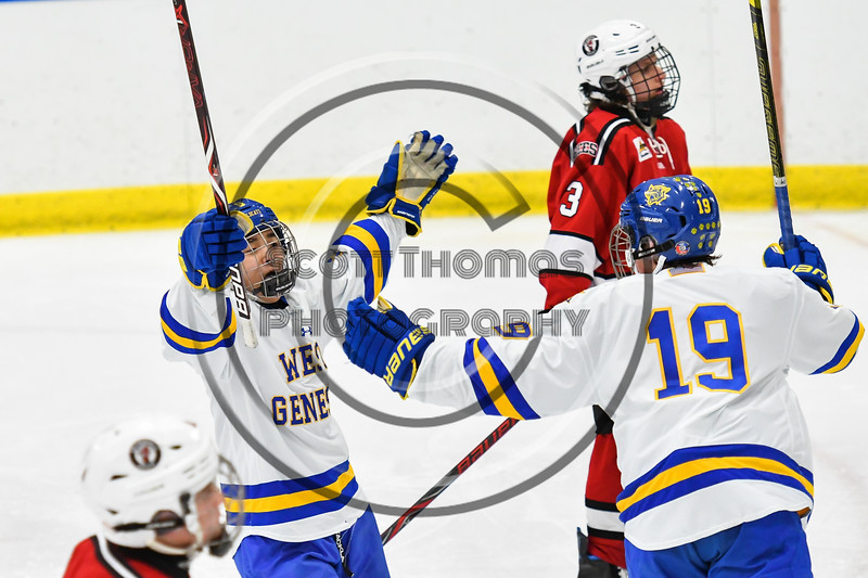 West Genesee Wildcats Joe McLaughlin (9) celebrates his goal against the Baldwinsville Bees in NYSPHSAA Section III Boys Ice hockey action at Shove Park in Camillus, New York on Tuesday, January 29, 2019. West Genesee won 5-1.