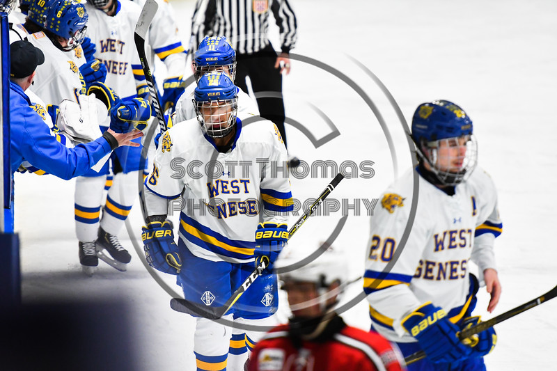West Genesee Wildcats Joe Comins (26) celebrates his goal against the Baldwinsville Bees in NYSPHSAA Section III Boys Ice hockey action at Shove Park in Camillus, New York on Tuesday, January 29, 2019. West Genesee won 5-1.