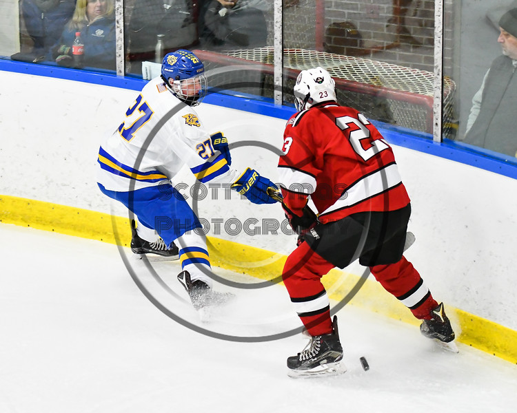 West Genesee Wildcats Joe Artini (27) gets the puck past Baldwinsville Bees Braden Lynch (23) in NYSPHSAA Section III Boys Ice hockey action at Shove Park in Camillus, New York on Tuesday, January 29, 2019. West Genesee won 5-1.
