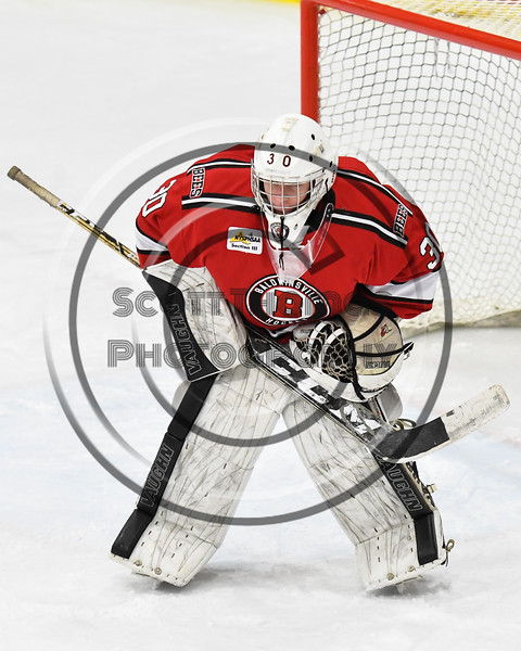 Baldwinsville Bees goalie Bradley O'Neill (30) before a face-off against the West Genesee Wildcats in NYSPHSAA Section III Boys Ice hockey action at Shove Park in Camillus, New York on Tuesday, January 29, 2019. West Genesee won 5-1.