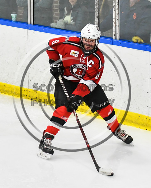 Baldwinsville Bees Parker Schroeder (8) looking to make a play against the West Genesee Wildcats in NYSPHSAA Section III Boys Ice hockey action at Shove Park in Camillus, New York on Tuesday, January 29, 2019. West Genesee won 5-1.