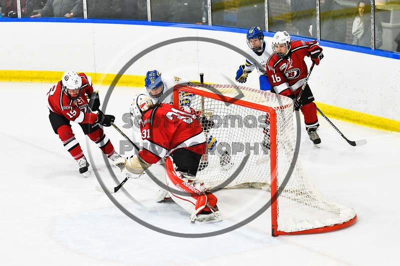 Baldwinsville Bees goalie Tommy Blais (31) stops West Genesee Wildcats Andrew Schneid (11) in NYSPHSAA Section III Boys Ice hockey action at Shove Park in Camillus, New York on Tuesday, January 29, 2019. West Genesee won 5-1.