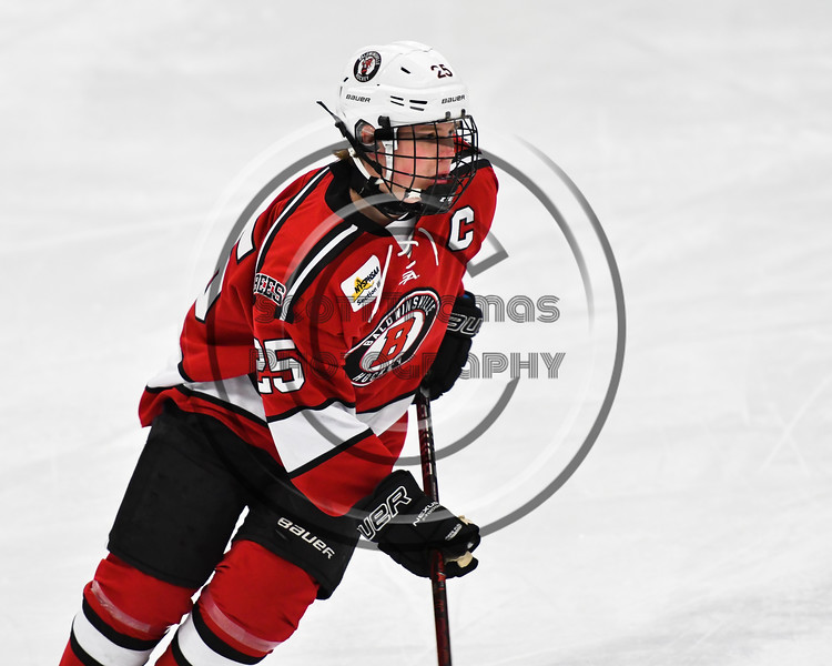 Baldwinsville Bees Jamey Natoli (25) warming up before playing the West Genesee Wildcats in a NYSPHSAA Section III Boys Ice hockey game at Shove Park in Camillus, New York on Tuesday, January 29, 2019.
