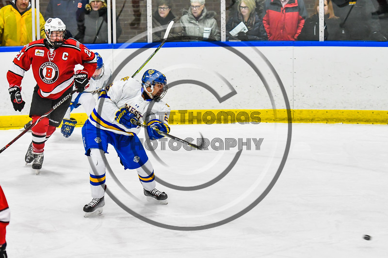 West Genesee Wildcats Joe Comins (26) fires the puck at the Baldwinsville Bees net in NYSPHSAA Section III Boys Ice hockey action at Shove Park in Camillus, New York on Tuesday, January 29, 2019. West Genesee won 5-1.