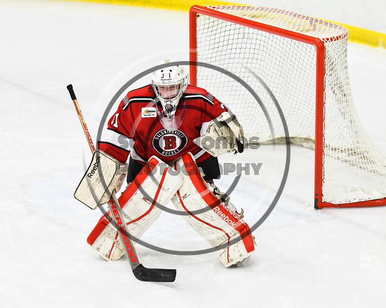 Baldwinsville Bees goalie Tommy Blais (31) in net against the West Genesee Wildcats in NYSPHSAA Section III Boys Ice hockey action at Shove Park in Camillus, New York on Tuesday, January 29, 2019. West Genesee won 5-1.