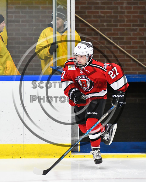 Baldwinsville Bees Tyler DeRito (27) hitting the ice before playing the West Genesee Wildcats in a NYSPHSAA Section III Boys Ice hockey game at Shove Park in Camillus, New York on Tuesday, January 29, 2019.
