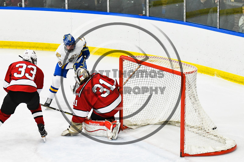 West Genesee Wildcats Billy Fisher (8) scores a goal on Baldwinsville Bees goalie Tommy Blais (31) in NYSPHSAA Section III Boys Ice hockey action at Shove Park in Camillus, New York on Tuesday, January 29, 2019. West Genesee won 5-1.
