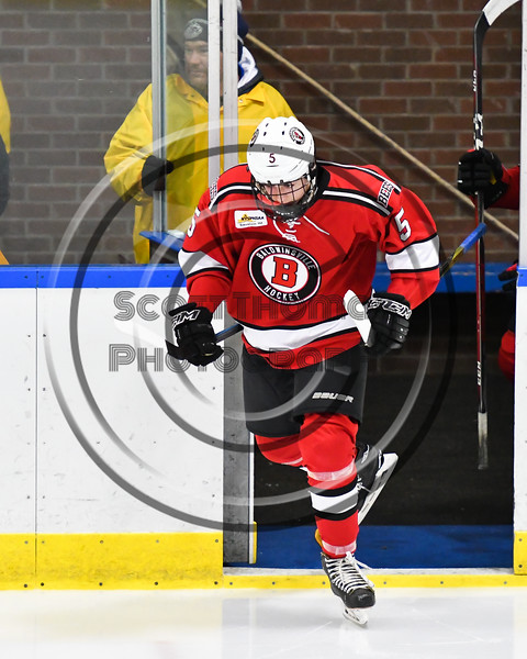 Baldwinsville Bees Alexander Pompo (5) hitting the ice before playing the West Genesee Wildcats in a NYSPHSAA Section III Boys Ice hockey game at Shove Park in Camillus, New York on Tuesday, January 29, 2019.