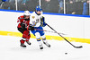 Baldwinsville Bees Mark Monaco (22) checking West Genesee Wildcats Jake Farrell (10) in NYSPHSAA Section III Boys Ice hockey action at Shove Park in Camillus, New York on Tuesday, January 29, 2019. West Genesee won 5-1.