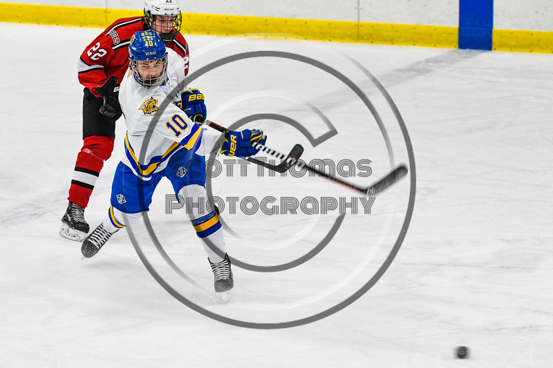 West Genesee Wildcats Jake Farrell (10) fires the puck at the Baldwinsville Bees net in NYSPHSAA Section III Boys Ice hockey action at Shove Park in Camillus, New York on Tuesday, January 29, 2019. West Genesee won 5-1.