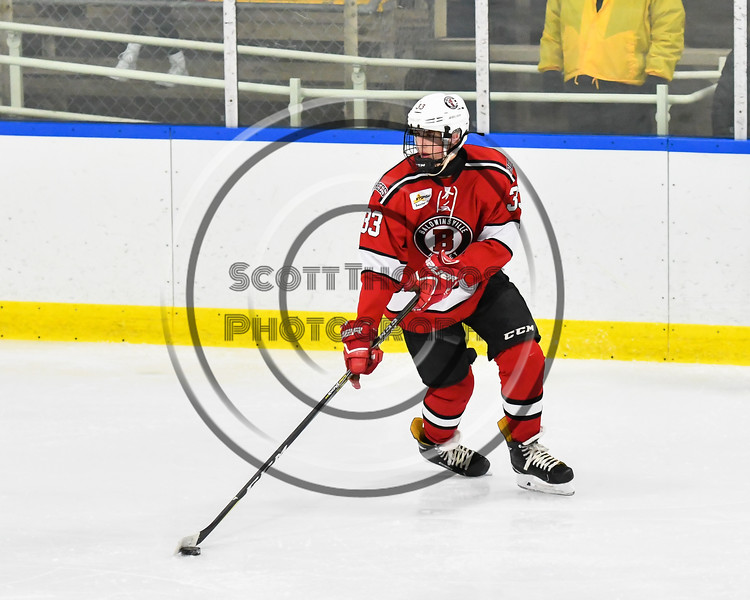 Baldwinsville Bees Christian Treichler (33) looking to make a play against the West Genesee Wildcats in NYSPHSAA Section III Boys Ice hockey action at Shove Park in Camillus, New York on Tuesday, January 29, 2019. West Genesee won 5-1.