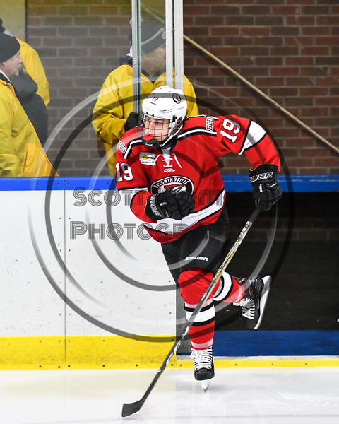 Baldwinsville Bees Michael Marsallo (19) hitting the ice before playing the West Genesee Wildcats in a NYSPHSAA Section III Boys Ice hockey game at Shove Park in Camillus, New York on Tuesday, January 29, 2019.