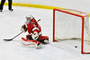 Baldwinsville Bees goalie Tommy Blais (31) has the puck shot by West Genesee Wildcats Ryan Washo (5, not pictured) get past him for a goal in NYSPHSAA Section III Boys Ice hockey action at Shove Park in Camillus, New York on Tuesday, January 29, 2019. West Genesee won 5-1.