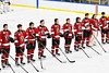 Baldwinsville Bees players lined up for the National Anthem before playing the West Genesee Wildcats a in NYSPHSAA Section III Boys Ice hockey game at Shove Park in Camillus, New York on Tuesday, January 29, 2019.