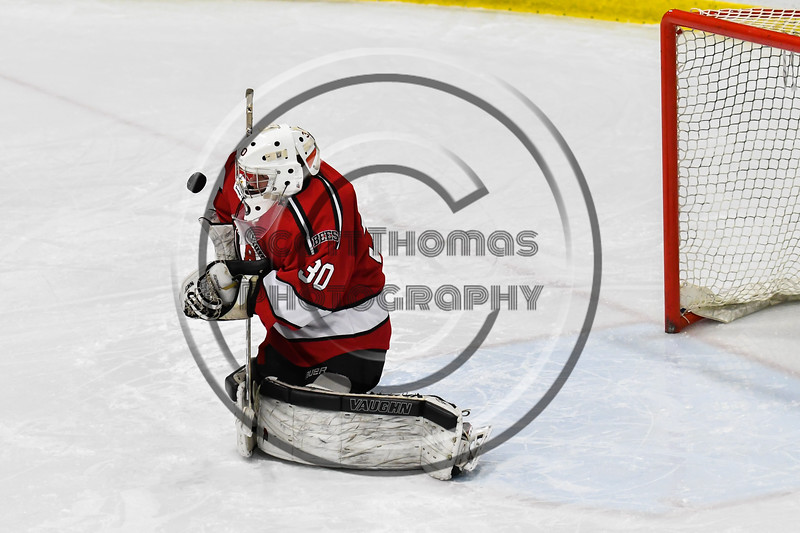 Baldwinsville Bees goalie Bradley O'Neill (30) warming up before playing the West Genesee Wildcats in a NYSPHSAA Section III Boys Ice hockey game at Shove Park in Camillus, New York on Tuesday, January 29, 2019.