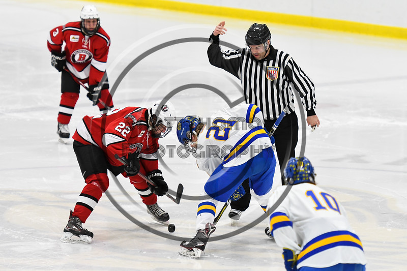 Baldwinsville Bees Mark Monaco (22) faced off against West Genesee Wildcats Jimmy Bergan (21) to start the second period of a NYSPHSAA Section III Boys Ice hockey game at Shove Park in Camillus, New York on Tuesday, January 29, 2019. West Genesee won 5-1.