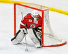 Baldwinsville Bees goalie Bradley O'Neill (30) in net against the West Genesee Wildcats in NYSPHSAA Section III Boys Ice hockey action at Shove Park in Camillus, New York on Tuesday, January 29, 2019. West Genesee won 5-1.