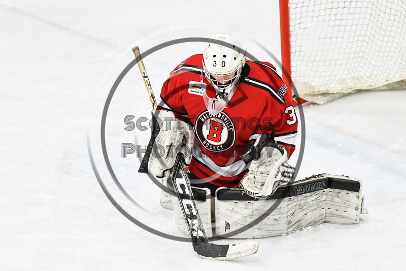 Baldwinsville Bees goalie Bradley O'Neill (30) warming up to play against the West Genesee Wildcats in NYSPHSAA Section III Boys Ice hockey action at Shove Park in Camillus, New York on Tuesday, January 29, 2019. West Genesee won 5-1.