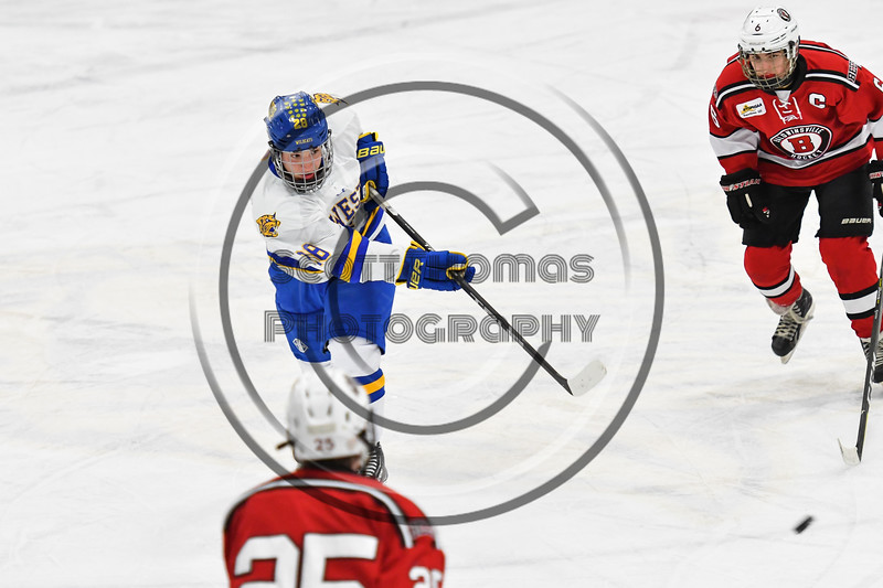 West Genesee Wildcats Max Hahn (28) fires the puck at the Baldwinsville Bees net in NYSPHSAA Section III Boys Ice hockey action at Shove Park in Camillus, New York on Tuesday, January 29, 2019. West Genesee won 5-1.