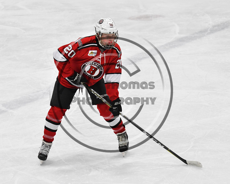 Baldwinsville Bees Casey Scott (20) before a face-off against the West Genesee Wildcats in NYSPHSAA Section III Boys Ice hockey action at Shove Park in Camillus, New York on Tuesday, January 29, 2019. West Genesee won 5-1.