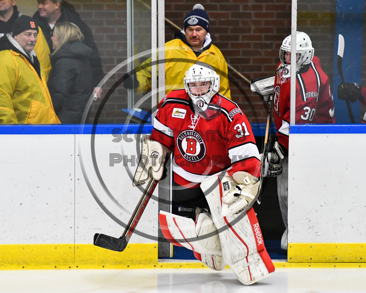 Baldwinsville Bees goalie Tommy Blais (31) leads his team on the ice to play the West Genesee Wildcats in a NYSPHSAA Section III Boys Ice hockey game at Shove Park in Camillus, New York on Tuesday, January 29, 2019.