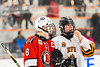 Baldwinsville Bees Parker Schroeder (8) talking with Rome Free Academy Black Knights Michael Bostwick (4) during a break in the action of a NYSPHSAA Section III Boys Ice hockey playoff game at John F. Kennedy Civic Arena in Rome, New York on Friday, February 15, 2019. Baldwinsville won 5-3.