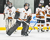 Rome Free Academy Black Knights goalie Isaiah Nebush (30) being introduced before playing the Baldwinsville Bees in a NYSPHSAA Section III Boys Ice hockey playoff game at John F. Kennedy Civic Arena in Rome, New York on Friday, February 15, 2019.
