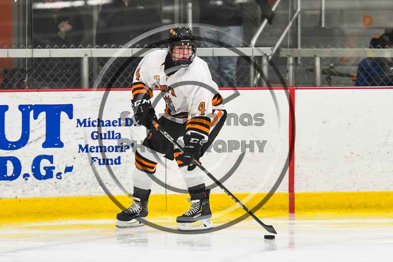 Rome Free Academy Black Knights Michael Bostwick (4) with the puck against the Baldwinsville Bees in NYSPHSAA Section III Boys Ice hockey playoff action at John F. Kennedy Civic Arena in Rome, New York on Friday, February 15, 2019. Baldwinsville won 5-3.