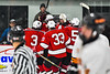 Baldwinsville Bees players celebrate a goal by Luke Hoskin (16) against the Rome Free Academy Black Knights in NYSPHSAA Section III Boys Ice hockey playoff action at John F. Kennedy Civic Arena in Rome, New York on Friday, February 15, 2019. Baldwinsville won 5-3.