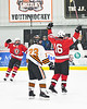 Baldwinsville Bees Luke Hoskin (16) celebrates his game winning goal against the Rome Free Academy Black Knights in NYSPHSAA Section III Boys Ice hockey playoff action at John F. Kennedy Civic Arena in Rome, New York on Friday, February 15, 2019. Baldwinsville won 5-3.
