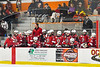 Baldwinsville Bees bench during the Rome Free Academy Black Knights NYSPHSAA Section III Boys Ice hockey playoff game at John F. Kennedy Civic Arena in Rome, New York on Friday, February 15, 2019. Baldwinsville won 5-3.