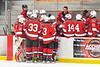 Baldwinsville Bees players huddle up at the bench during a time out against the Rome Free Academy Black Knights in NYSPHSAA Section III Boys Ice hockey playoff action at John F. Kennedy Civic Arena in Rome, New York on Friday, February 15, 2019. Baldwinsville won 5-3.