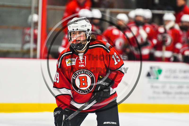 Baldwinsville Bees Michael Marsallo (19) before a face-off against the Rome Free Academy Black Knights in NYSPHSAA Section III Boys Ice hockey playoff action at John F. Kennedy Civic Arena in Rome, New York on Friday, February 15, 2019. Baldwinsville won 5-3.