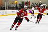 Baldwinsville Bees Parker Schroeder (8) celebrates his empty net goal against the Rome Free Academy Black Knights in NYSPHSAA Section III Boys Ice hockey playoff action at John F. Kennedy Civic Arena in Rome, New York on Friday, February 15, 2019. Baldwinsville won 5-3.