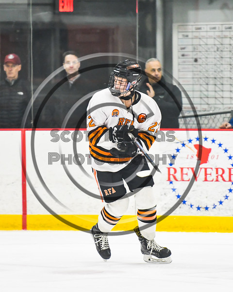 Rome Free Academy Black Knights Daniel Mecca (22) being introduced before playing the Baldwinsville Bees in a NYSPHSAA Section III Boys Ice hockey playoff game at John F. Kennedy Civic Arena in Rome, New York on Friday, February 15, 2019.