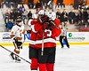 Baldwinsville Bees Ryan Muscatello (3) celebrates his goal against the Rome Free Academy Black Knights in NYSPHSAA Section III Boys Ice hockey playoff action at John F. Kennedy Civic Arena in Rome, New York on Friday, February 15, 2019. Baldwinsville won 5-3.