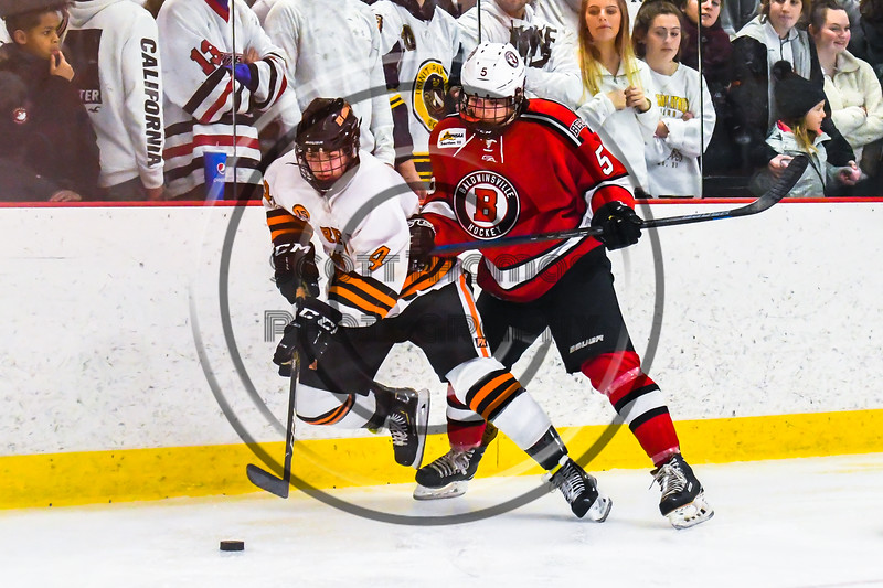 Baldwinsville Bees Alexander Pompo (5) checking Rome Free Academy Black Knights Michael Bostwick (4) in NYSPHSAA Section III Boys Ice hockey playoff action at John F. Kennedy Civic Arena in Rome, New York on Friday, February 15, 2019. Baldwinsville won 5-3.