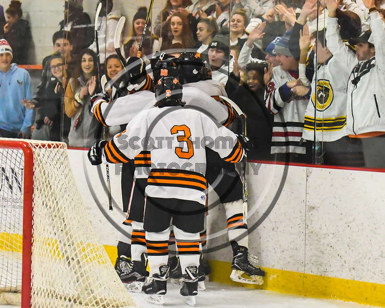 Rome Free Academy Black Knights Michael Bostwick (4) celebrates his goal against the Baldwinsville Bees in NYSPHSAA Section III Boys Ice hockey playoff action at John F. Kennedy Civic Arena in Rome, New York on Friday, February 15, 2019. Baldwinsville won 5-3.