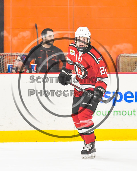 Baldwinsville Bees Mark Monaco (22) being introduced before playing the Rome Free Academy Black Knights in a NYSPHSAA Section III Boys Ice hockey playoff game at John F. Kennedy Civic Arena in Rome, New York on Friday, February 15, 2019.