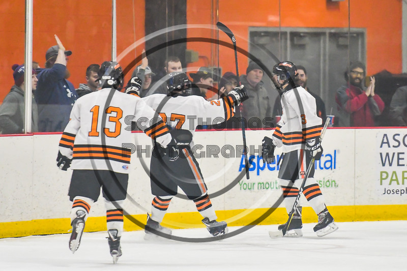 Rome Free Academy Black Knights celebrate the goal by Kyle Lubey (3) against the Baldwinsville Bees in NYSPHSAA Section III Boys Ice hockey playoff action at John F. Kennedy Civic Arena in Rome, New York on Friday, February 15, 2019. Baldwinsville won 5-3.