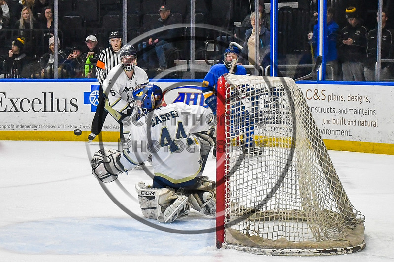 Skaneateles Lakers goalie Adam Casper (44) about to make a save against the Cortland-Homer Golden Eagles in the Section III, Division II Boys Ice Hockey Championship game at the War Memorial Arena in Syracuse, New York on Monday, February 25, 2019.  Skaneateles Lakers won 4-1.