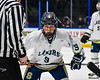 Skaneateles Lakers Charlie Major (9) before a face-off against the Cortland-Homer Golden Eagles in the Section III, Division II Boys Ice Hockey Championship game at the War Memorial Arena in Syracuse, New York on Monday, February 25, 2019.  Skaneateles Lakers won 4-1.