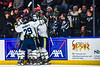 Skaneateles Lakers players and fans celebrate the goal by Ryan Gick (11) against the Cortland-Homer Golden Eagles in the Section III, Division II Boys Ice Hockey Championship game at the War Memorial Arena in Syracuse, New York on Monday, February 25, 2019.  Skaneateles Lakers won 4-1.