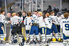 Skaneateles Lakers players celebrate their Section III, Division II Boys Ice Hockey Championship win over the Cortland-Homer Golden Eagles at the War Memorial Arena in Syracuse, New York on Monday, February 25, 2019.  Skaneateles Lakers won 4-1.