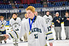 Skaneateles Lakers Garrett Krieger (12) receives his Section III, Division II Boys Ice Hockey Championship medallion at the War Memorial Arena in Syracuse, New York on Monday, February 25, 2019.
