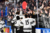 Syracuse Cougars players celebrate with their fans after defeating the West Genesee Wildcats in the Section III, Division I Boys Ice Hockey Championship game at the War Memorial Arena in Syracuse, New York on Monday, February 25, 2019.  Syracuse won 3-2 in 4OT.