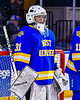 West Genesee Wildcats goalie Chris Wells (31) being introduced before playing the Syracuse Cougars in the Section III, Division I Boys Ice Hockey Championship game at the War Memorial Arena in Syracuse, New York on Monday, February 25, 2019.
