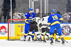 Syracuse Cougars Ryan Eccles (23, not pictured) scores the winning overtime goal to defeat the West Genesee Wildcats in the Section III, Division I Boys Ice Hockey Championship game at the War Memorial Arena in Syracuse, New York on Monday, February 25, 2019.  Syracuse won 3-2 in 4OT.